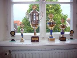 Die Pokale für die Meisterschaften von 2010