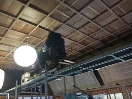 福榮神社 拝殿格天井の補修工事 3月19日