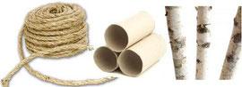 sisal, rouleaux de papier-toilette et bouleau