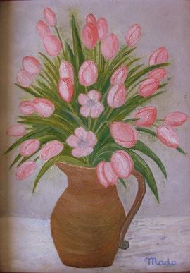 Bouquet printanier de tulipes par Mado artiste peintre amateur