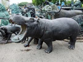 Nilpferd Figur Garten Bronze