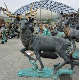 Hirsch Garten Bronze Figur Skulptur