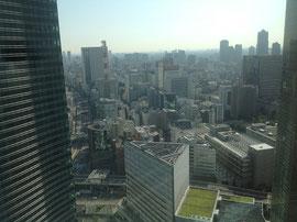 ロイヤルパーク汐留タワーの30階から眺めた東京汐留の街