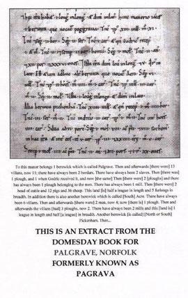 """Extrait du document fiscal anglais appelé """"Domesday book"""" concernant le domaine de Palgrave, possession de l'Abbaye de Saint-Riquier en Angleterre au XIIIe siècle"""