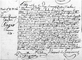 Acte de décès d'André de Pioger - Archives municipales d'Abbeville