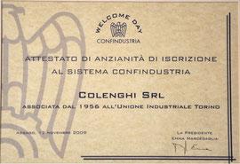 Attestato di iscrizione a Confindustria Colenghi