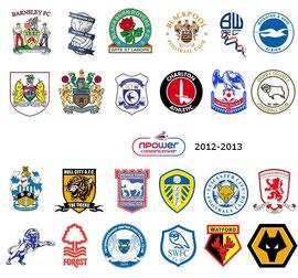 Die Logos der 24 Championship-Teilnehmer der Saison 2012/2013