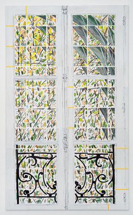 Peter-Jörg Splettstößer, Fenster ( Paris), 2013, Acryl, Lwd, 150 x 90 cm