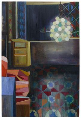 Maren Schimmer, Wohnzimmer im Freien, 2011, Ölfarbe und Buntstift auf Holz, 180 x 120 cm