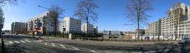 Blick auf die ersten Wohnblocks des enstehenden Europagarten aus der Idsteiner Str.