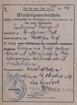 Vorderseite eines Wandergewerbescheines für Ferdinand Reinhard(t), ausgestellt in Nürtingen, Kreisarchiv Esslingen (abgekürzt KrAES) D 1 Bü. 532, alle Rechte vorbehalten! Durch Anklicken vergrößerbar.