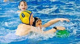 BSC-Schwimmer Tore Witte (Nr. 6) spielt am Liebsten in der Abwehr.