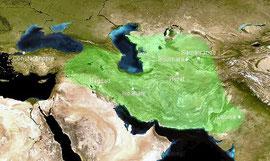 L'empire de Timour, en vert, d'après (Cosmovision, 2009)