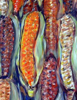 verschiedenfarbig gemalte Maiskolben