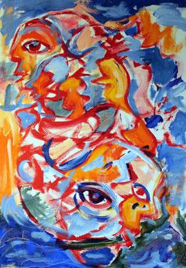 Expressives, farbiges und bewegendes Gemaelde des Menschen inmitten von Erde und Wasser