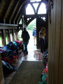 Wet clothes were left in the church porch