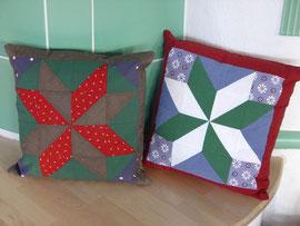 Kissen in der Patchwork-Technik hergestellt (weihnachtliches Motiv).