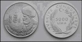 Moneda de curs legal de 5.000 Lires  encunyada el 1985 a Turquia