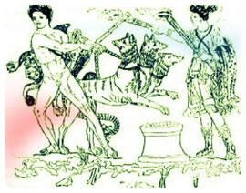 Hercule maîtrisant le chien à trois têtes qui garde la porte de l'Hadès.