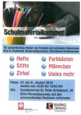 Plakat Schulmaterialkammer 27.-31.08.18