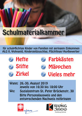 Plakat Schulmaterialkammer 26.-30.08.19