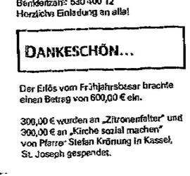 Katholische Kirchengemeinde Christkönig spendet für Bedürftige in Kassel
