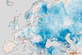Kartenquelle: http://earthobservatory.nasa.gov/IOTD/view.php?id=77126 | Temperatur-Anomalien für Europa und Westrussland vom 25. Jan. bis 1. Febr. 2012, im Vergleich zu den Temperaturen für den gleichen Zeitraum zwischen 2001 und 2011.