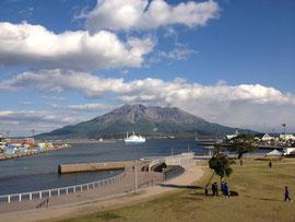 ↑ 桜島。会場のすぐ近くでした。