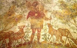 Der GUTE HIRTE, Fresko in den Domitillakatakomben Rom