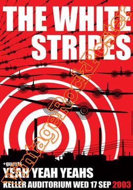 the white stripes,white stripes poster,white stripes concert,Jack White, Meg White,concert,live show, white stripes affiche,manifesto,locandina,yeah yeah yeahs,keller auditorium,Portland,2003