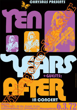 ten years after,ten years after poster,Alvin Lee, Leo Lyons, Joe Gooch, Ric Lee, Chick Churchill, Colin Hodgkinson,rock poster,concert poster,vintage rock posters