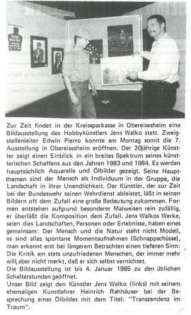 """""""Obereisesheimer Mitteilungen"""", 14.12.1984, Jens Walko Ausstellung, Heinrich Rahäuser"""