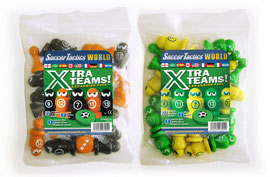 Extra Team Sets with pawns in orange/black and green/yellow