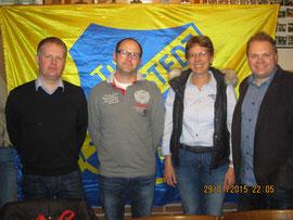 von links nach rechts: Neuer 2. Vorsitzender Marc-André Schulz, neuer Schriftführer Torben Pahl, wiedergewählte Abteilungsleiterin Turnen Silke Rohwer, alter und neuer 1. Vorsitzender Heiko Wisser