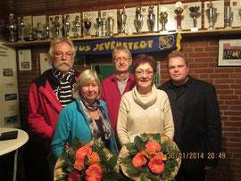 von links: Egon Rasch, Maria Rasch, Jes-Edlef Holm, Dagmar Holm, 1. Vorsitzender Heiko Wisser