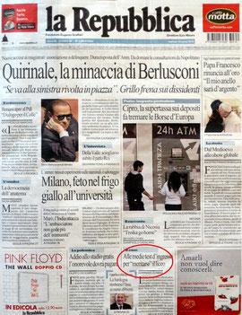 L'articolo in prima pagina su Repubblica del 19 marzo