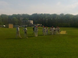 Leaving the field, CERN CC vs Swiss Colts (5 May 2013)