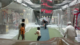 Cricket nets at Letzipark Shopping Centre in Zurich