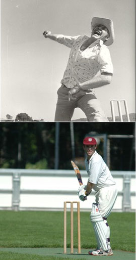Fred Webb (top) as bowler dressed casually and Pip Kirkpatrick (below) thirty years later.