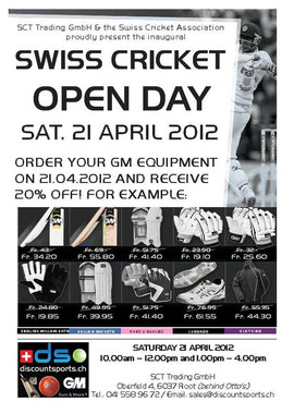 Swiss Cricket Open Day with Discount Sports