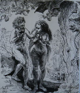 after Rembrandt's 'Adam & Eve'