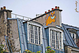 Le chat - graffiti sur pignon
