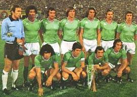 l'équipe de la grande époque avant la rencontre contre le CSKA Sofia en 1976