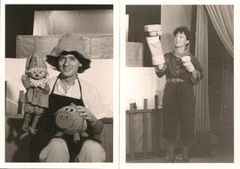 "Theater Lilarum, re Traude Kossatz, li Ferdinand Resch, Puppen Traude Kossatz, zum Stück ""Der Farbenkönig"" von Ferdinand Resch, 1984; Fotos: Theater  Lilarum Traude Kossatz"