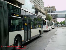Busschlangen waren sowohl am Terminal 1 ...
