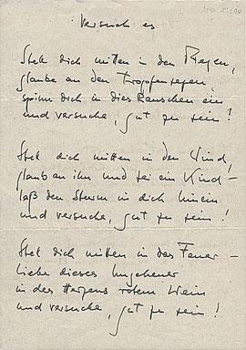 Copyright für alle Borchert-Texte: Rowohlt Verlag, Reinbek bei Hamburg. Das Original der Handschrift liegt im Borchert-Archiv der Staats- und  Universitätsbibliothek Hamburg