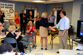 Mayor Colleen Mahr introduces Dan Levine