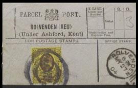 A 1904 Rolvenden Parcel Post Label.