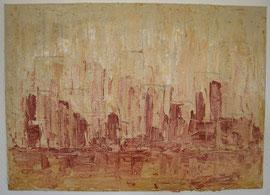 Silhouette in Rot-Ocker, 50 x 70 cm
