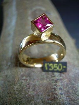 Bild:Ring,Gelbgold750,18kt,Turmalin,carré,pink,Handarbeit,Unikat